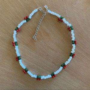 Handmade Cherry Cherry beaded choker necklace